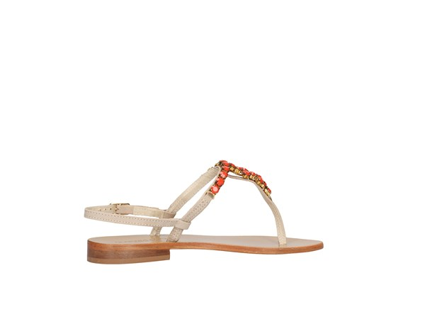 Roberta Lopes 1021/50 Beige / Coral Shoes Women Flops